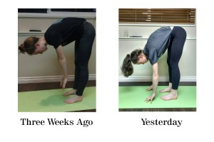 This is me trying to touch my toes while standing three weeks ago versus now.